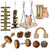 KATUMO Hamster Chew Toys, Natural Wooden Guinea Pigs Rats Chinchillas Toys Accessories Teeth Care Molar Toys Suitable for Rabbits Gerbils Ect Small Rodent Pets to Chew, Play and Teeth Care