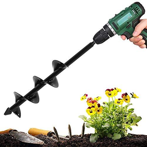 ODOMY Broca para taladro en espiral, punta de taladro para taladro de jardín para excavadora de jardín para plantar plantas y bulbos con guantes, árboles, arbustos, cultivo (8 x 40 cm)