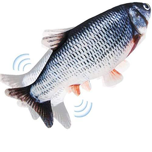 Pesce Giocattolo Gioco per Gatto - Giochi Interattivo per Gatti, Giochi Gatto Pesce Che si Muove, Pesci Giocattolo Elettrici con Erba Gatta , Simulazione Realistica di Morbido Pesce Oscillante