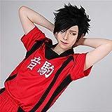 Anime Haikyu !!Voleibol Tetsurou Kuroo Tetsuro Cosplay Pelucas Corto Negro Peluca de pelo sintético resistente al calor + Gorra de peluca