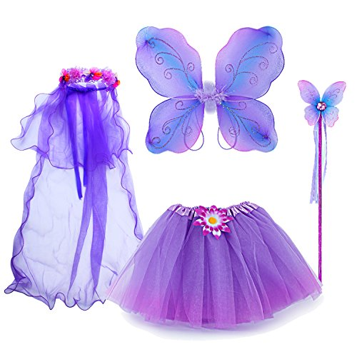 Fedio 4Pcs Girls Princess Fairy Costume Set with Wings, Tutu, Wand and Floral Wreath Veil for Children Ages 3-6 (Multicolor-Purple)