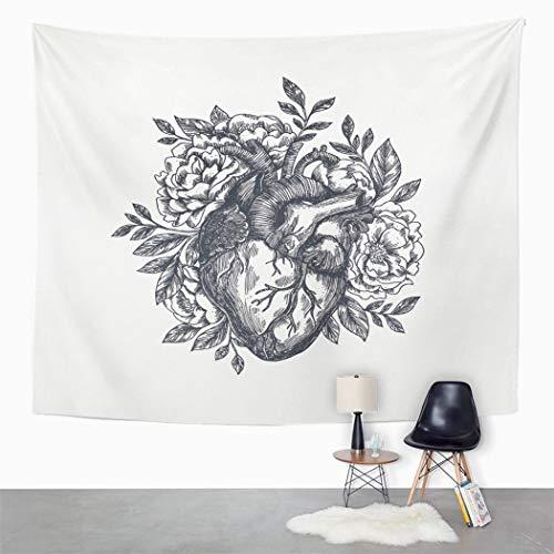 Y·JIANG Tapiz anatómico de corazón, diseño de flores para el día de San Valentín, decoración de dormitorio de casa, manta ancha para colgar en la pared para sala de estar, dormitorio, 203 x 152 cm