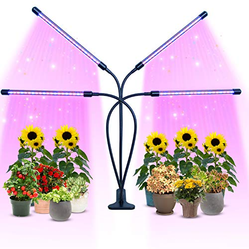 PCCOOLER Grow Light, 4 Heads Timing & 80 LEDs & 9 Dimmable Settings, Horizontal Plant Growth Lamp for Indoor Plants with Red/Blue Spectrum, Adjustable Gooseneck, 3/9/12H Timer, 3 Switch Modes