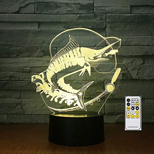 Fernbedienung Angeln 3D Tischlampe Kinder Spielzeug Geschenk Acryl Stereo Illusion LED Tisch Nachttisch Kaffee Bar Fisch essen Köder Kreativ