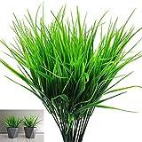 SRunDe 6 piante artificiali erba di grano in plastica cespugli per esterni Piante Verdi casa all'aperto ufficio scrivania tavolo da matrimonio balcone decorazione da giardino