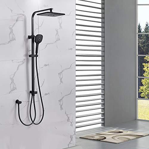 Auralum Edelstahl Duschset mit 3-Funktions Handbrause, Quadratisch schwarze Duschsysteme Inkl. Schlauch Duschkopf Brause fürs Bad (ohne Wasserhahn)