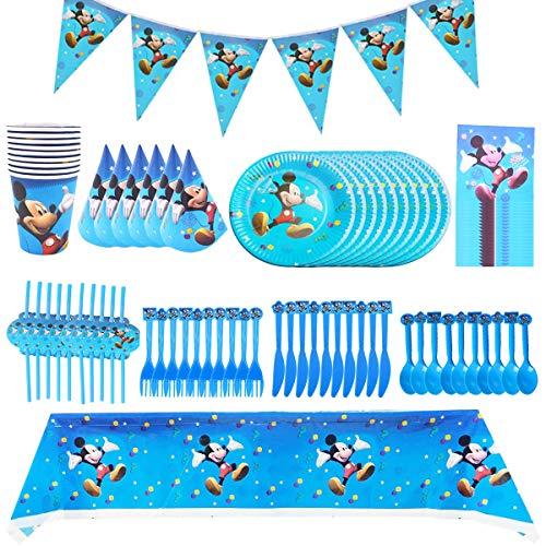 Set de Fiesta de Cumpleaños de Mickey, BESTZY Cumpleaños Vajilla Set de Fiesta Kids Birthday Mickey, Plato, Servilleta de Papel, Cuchillo, Tenedor, Taza, Mantel, Paja para Niños Baby Shower