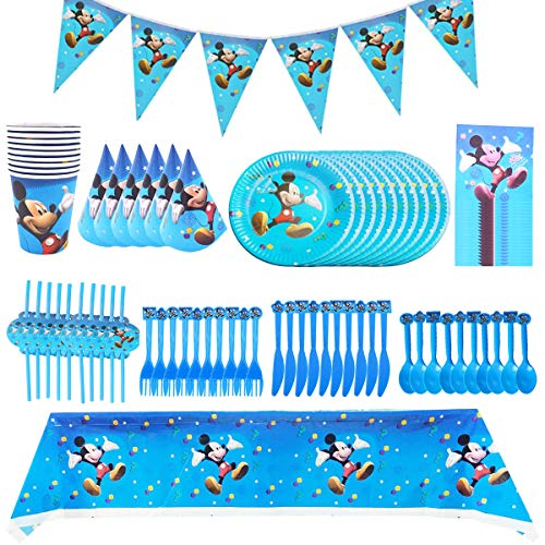 Mickey Birthday Party Set, BESTZY Mickey Mouse Party Tableware Party Tableware Mickey Party Plates Cups Forks Straws Party Tablecloth for 10 Guests