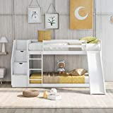 Twin Over Twin Bunk Bed with 2 Drawers,...