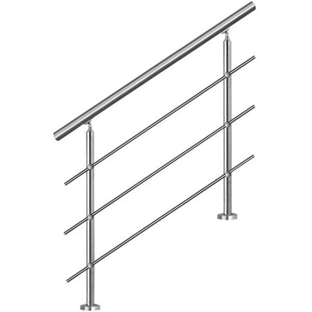 YIKE-Pasamanos Barandilla de Escalera de Tubo Redondo de Acero Inoxidable de 150 cm, barandas Interiores y Exteriores, 2 pilares, con 4 Barras horizontales, utilizadas como escaleras Balcón Muro de: Amazon.es: Hogar
