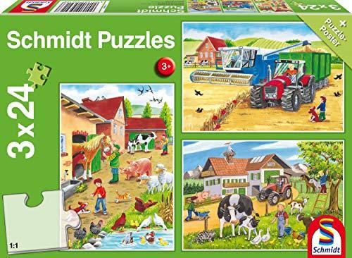 Schmidt Spiele Puzzle 56216, grün, Auf dem Bauernhof, 3x24 Teile