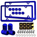 Blue License Plate Frames- Aluminum Front & Rear Car Tag Covers for Men Women, 2 Pack 4 Hole Thin Slim Holders with Mounting Hardware Kit- Stainless Steel Screws, Rattle Proof Pads, Tire Valve Caps