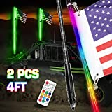 DJI 4X4 4FT LED Whip Lights, 2Pcs Smoked Black Lighted Whips with Remote Control RGB Dancing/Chasing...