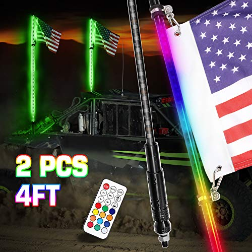 DJI 4X4 4FT LED Whip Lights, 2Pcs Smoked Black Lighted Whips with Remote Control RGB Dancing/Chasing Antenna LED Whips for UTV ATV RZR Polaris Off Road Trucks Buggy Dune Sand Can-am Boat