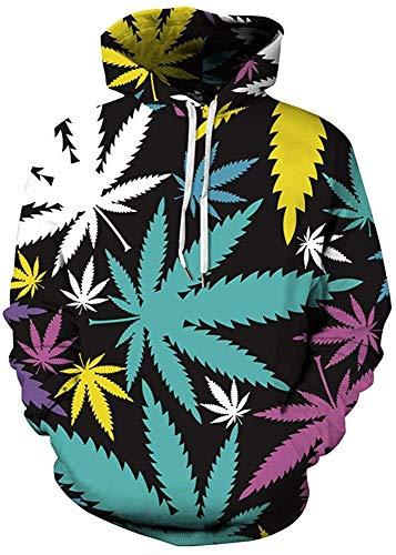 SMYUI Hombres 3D Impresión Hoodie decon Bolsillo Grande Guitarra eléctrica Cannabis Leaf...