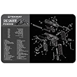 TekMat Gun Cleaning Mat  Compatible for Sig Sauer P238/938 ,11 x 17 Thick, Durable, Waterproof / Handgun Cleaning Mat with Parts Diagram and Instructions / Black and Grey