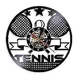 Nfjrrm Orologio da Tennis Orologio da Tennis con Racchetta da Tennis Orizzontale Wall Art Orologio da Parete Sala Sportiva Decorazione retrò Orologio da Parete in Vinile Regalo Tennis 30x30cm