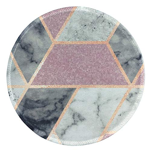 LESHIRY Mouse Pad, Cute Circular Mousepad with Design, Beautiful Parttern Mouse Pads with Stitched Edge, 7.9X7.9 Inch Small Mouse Mat for Laptop and Computer (Pink-Grey Marble)