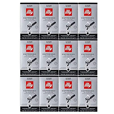 illy E.S.E. Pods Coffee, Intenso Espresso Pods , Dark Roast, Robust and Full Flavored with Notes of Cocoa, 100% Arabica Coffee, All-Natural, No Preservatives, 18 Count (Pack of 12)