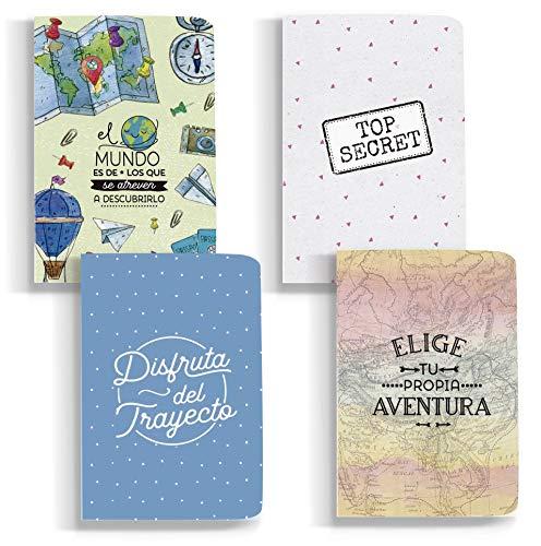 HappyMots - Pack de 4 libretas bonitas A6-48 páginas de papel reciclado de 130 gramos