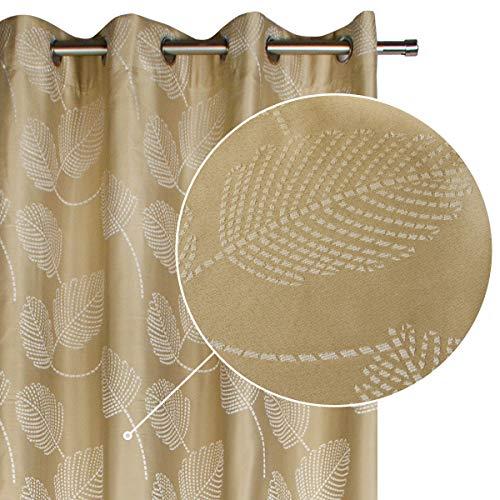 Viste tu hogar Cortina Decorativa Opaca con Diseño de Hojas Bordadas, Moderna y Elegante, para Salón o Dormitorio, 1 Pieza, 140X260 CM, Color Beige