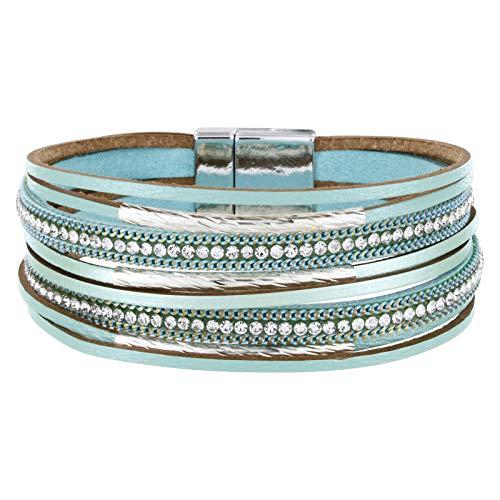 StarAppeal Armband Lederarmband mit Strass, Ketten und Schmuckelementen, Magnetverschluss Silber, Damen Armband (Mint)