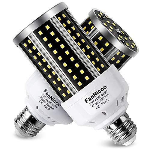 LED Corn Light Bulb 2 Pack 200W Equivalent Cool Bright Daylight White 30W 6500K 3000 Lumen E26 E27 Medium Base New Corn Shape 360°Beam Angle for Outdoor Indoor Factory Warehouse Garage Shop Street