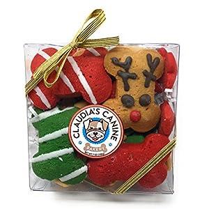 Claudia's Canine Gourmet Christmas Dog Treat Gift Box (Reindeer Party Bones)