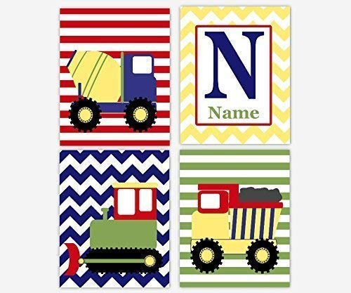 Baby Boy Nursery Wall Art Construction Trucks Vehicles Green Red Blue Yellow Boys Room Wall Art Playroom Art Builder Baby Nursery Decor Art SET OF 4 UNFRAMED PRINTS