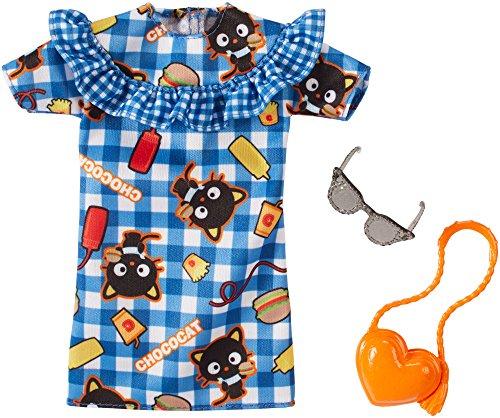 B Original Mattel Barbie Mode, Kleider Set - inkl. Schuhe oder Accesoires (FKR89 - Hello Kitty Kleid blau mit Chococat - inkl Umhängetasche und Sonnenbrille)