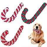 Frgasgds Juguetes Perro para Navidad,3 Piezas Cuerda de Juguete para Masticar para Perros Cuerda de Juguete para Masticar Bastón de Caramelo navideño Juguete de Cuerda para Masticar Mascotas