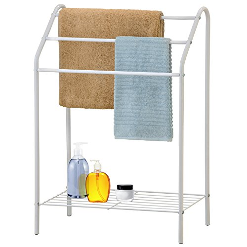 MyGift Freestanding 3 Tier Metal Towel Rack, Chrome Bathroom Towel Bar, White