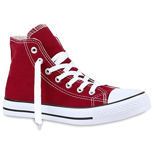 stiefelparadies Damen Sneaker High Glitzer Sneakers Camouflage Stoff Sport Schnürer Übergrößen Flats Turn Schuhe 117376 Dunkelrot 39 Flandell