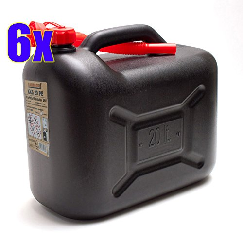 BAUPROFI 6er Set: 6X Benzinkanister KKS 20 PE schwarz 20 Liter Kraftstoffkanister 20L