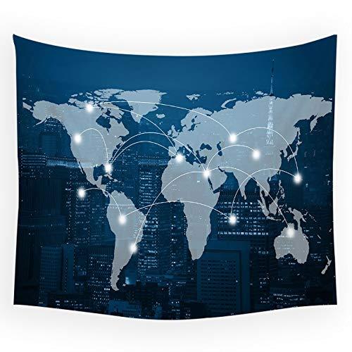 KHKJ Mapa del Mundo Tapiz de Pared Shabby Chic Manta Colgante de Pared Mapa de Paisaje turístico Decoración Decoraciones para el hogar Tapiz de Dormitorio A5 200x150cm