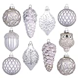 Valery Madelyn Palle di Natale Vetro Addobbi Natalizi Set, 10 Pezzi 10-15cm Silver And White Palline di Natale Decoration for Addobbi Natalizi per Albero