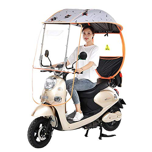 General Electric Bicycle Sunshade Shelter Rain Cover, Universal Car Motor Scooter Umbrella Mobility Sun Shade,with PVC Windshield,Black,B