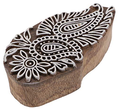 Guru-Shop Indischer Textilstempel, Holz Stoffdruckstempel, Blaudruck Stempel, Druck Modell - 4x9 cm Paisley 3, Braun, Indische Holzstempel