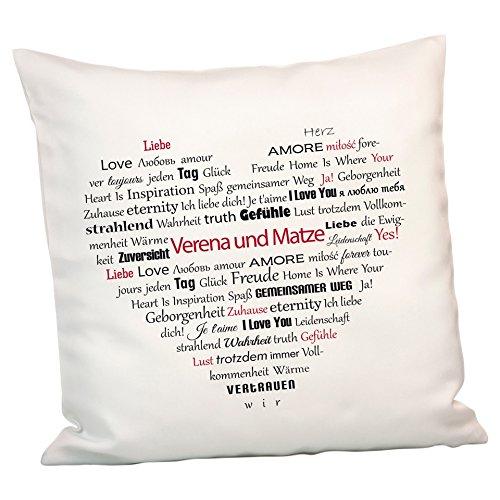 Geschenke 24: Persönliches Kissen Herz aus Worten - personalisiertes Kuschelkissen mit Namen gestalten - EIN schönes Romantikgeschenk für Männer und Frauen