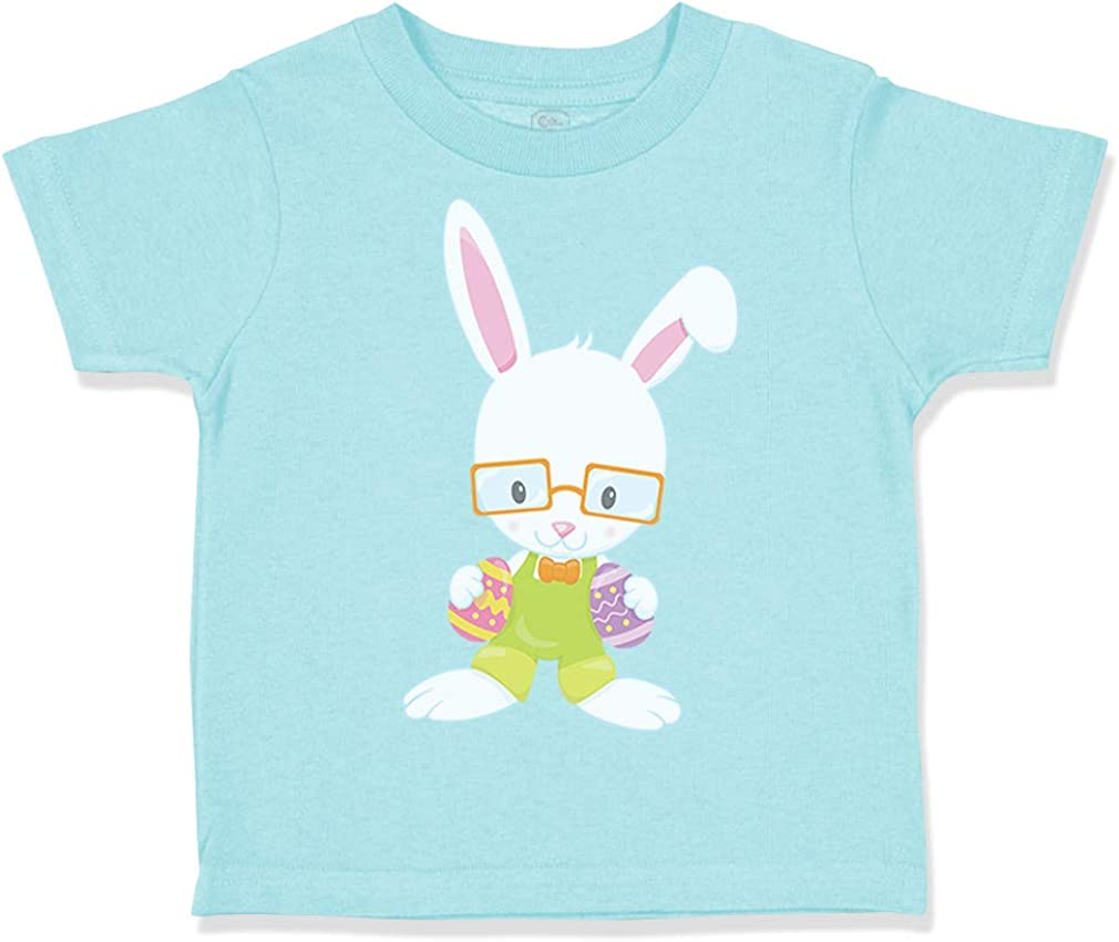 Custom Toddler T-Shirt Bunny Glasses Easter Cotton Boy & Girl Clothes