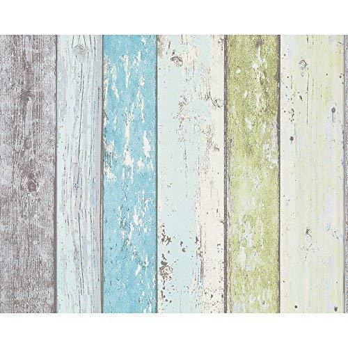AS Creation Surf Beach Hut Painted Wood Pattern Faux Effect Wallpaper (Blue Green 855077)