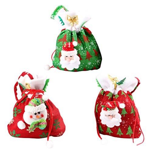 Toyvian 3 Stücke Weihnachten Säckchen Nikolaussäckchen Geschenksäckchen Schmuckbeutel Geschenkbeutel mit Kordelzug Süßigkeiten Beutel zum Befüllen (Weihnachtsmann/Schneemann)