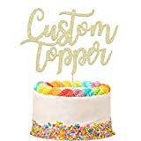EDSG Personalised Cake Topper Custom Cake Topper.Happy Birthday Decorations. Double Sided Glitter Card Any Text Customized. Birthday or Wedding Party Multicolour Glitter Cake Decoration