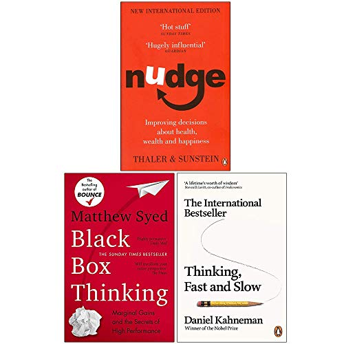 Nudge Improving Decisions About Health Wealth and Happiness, Black Box Thinking, Thinking Fast and Slow 3 Books Collection Set