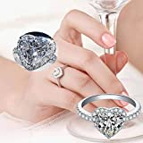 Exquisite Heart Rhinestone Ring Alloy Jewelry Accessories Personality Gift for Woman Birthday Valentine's Day Anniversary