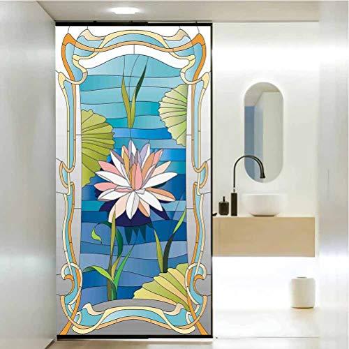 Statisch haftender Buntglas-Film-Fenster, Jugendstil Lotus auf dem Wasser, Barock Avantgarde Sty, nicht klebend, keine Rückstände, einfaches Trimmen von Folien für Sonnenschutz, B 69 x H 89 cm