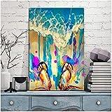 Bdwdhj Posters,Abstracto Graffiti Acuarela Zapatillas De Playa Imagen Arte De La Pared Póster Pintura De La Lona Impresiones para Regalo Decoración del Hogar -20X28 Pulgadas