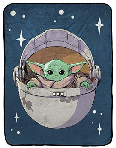 Star Wars The Mandalorian The Child Raschel Throw Blanket - Measures 43.5 x 55 inches, Kids Bedding Features Baby Yoda - Fade Resistant Super Soft (Official Star Wars Product)