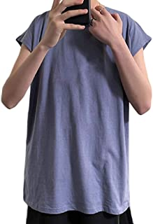 Men's Cotton Vest Workout Tank Tops Shirt Crew Neck Sleeveless Beach Yoga Casual Top