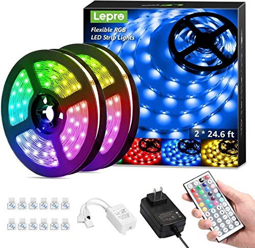 Lepro 50ft LED Strip Lights, Ultra-Long RGB 5050 LED Strips with Remote Controller and Fixing Clips, Color Changing Tape Light with 12V ETL Listed Adapter for Bedroom, Room, Kitchen, Bar(2 X 24.6FT)